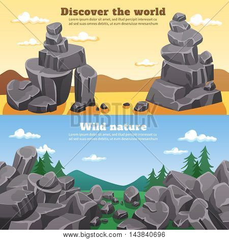 Rocks and stones horizontal banners with colorful wild nature cartoon landscapes flat vector illustration