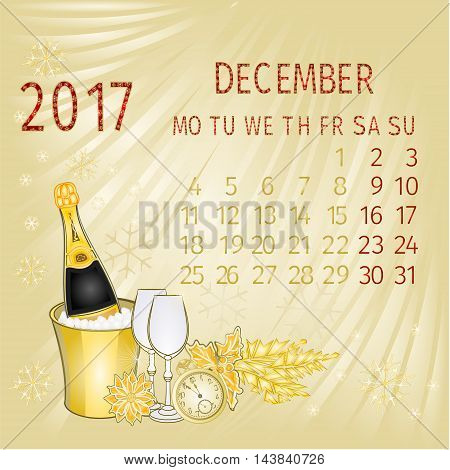 Calendar December 2017 and New Year vector illustration