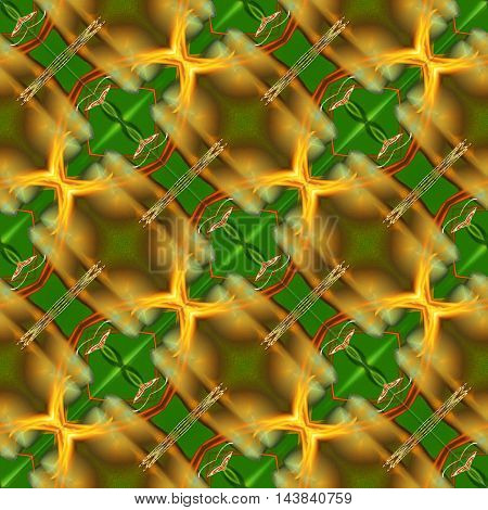 Green and yellow abstract seamless tiles pattern.