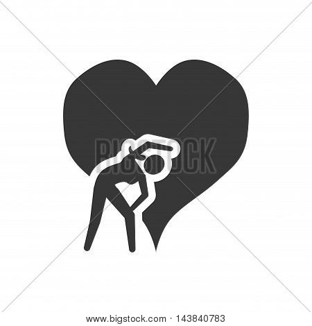 heart stretching healthy lifestyle fitness silhouette icon. Flat and Isolated design. Vector illustration