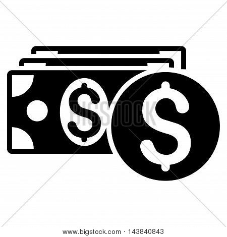 Dollar Cash icon. Vector style is flat iconic symbol with rounded angles, black color, white background.