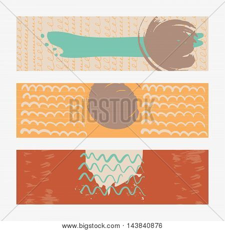 Set of horizontal banners handdrawn decorated with liquid ink brush stripes strokes and spots. Isolated on background vector illustration stylish with imperfect parts in pastel summer bright colors