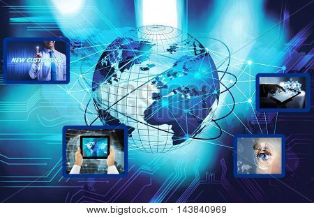 Digital earth. Globe internet connection. Business network concept.