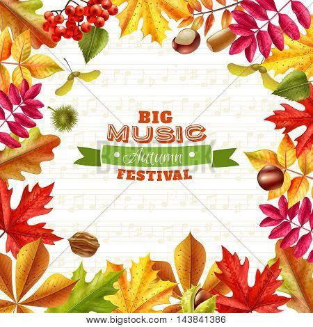 Big autumn music festival background with bright fall leaves chestnuts berries and acorns on textural background flat vector illustration