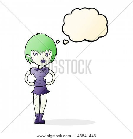 cartoon pretty vampire girl with thought bubble