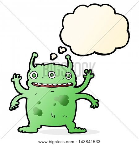 cartoon alien monster with thought bubble