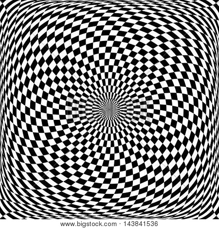 Circular rotation movement. Op art pattern. Vector art.