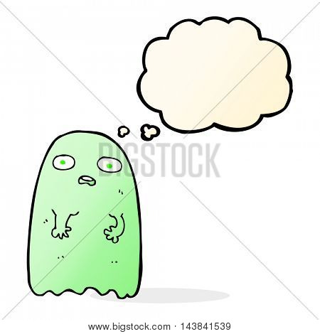 funny cartoon ghost with thought bubble