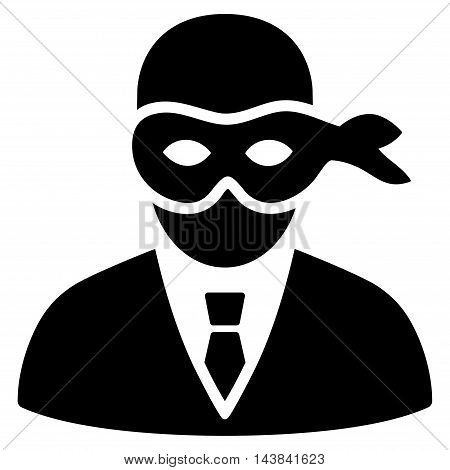 Masked Thief icon. Vector style is flat iconic symbol with rounded angles, black color, white background.