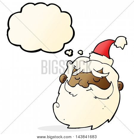 cartoon santa claus face with thought bubble