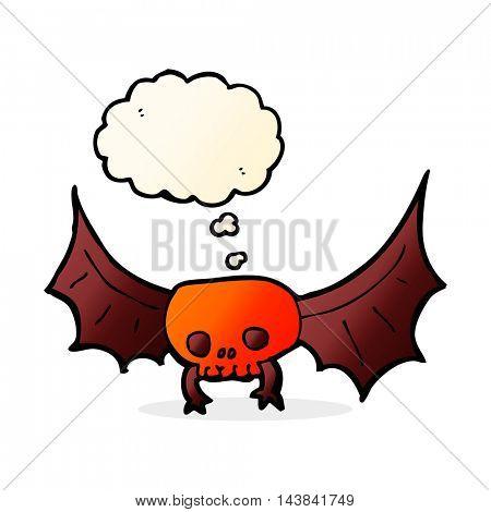 cartoon spooky skull bat with thought bubble