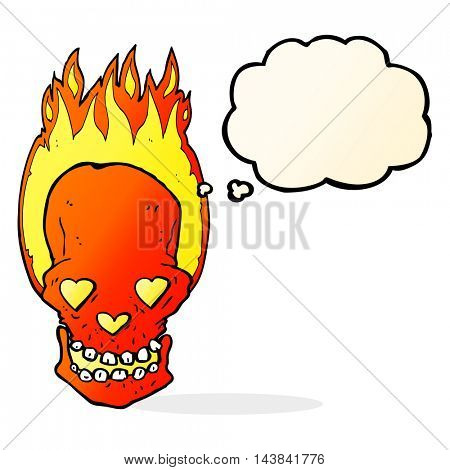 cartoon flaming skull with love heart eyes with thought bubble