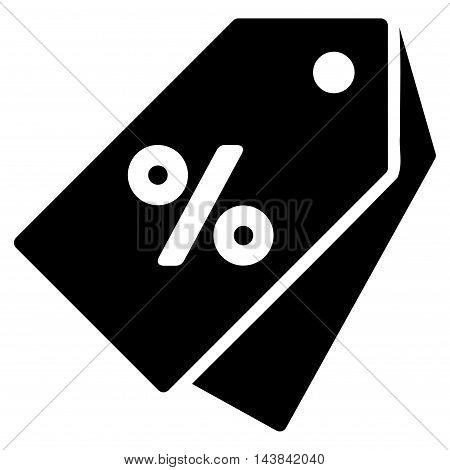 Percent Discount Tags icon. Vector style is flat iconic symbol with rounded angles, black color, white background.