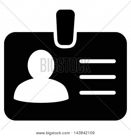 Person Badge icon. Vector style is flat iconic symbol with rounded angles, black color, white background.