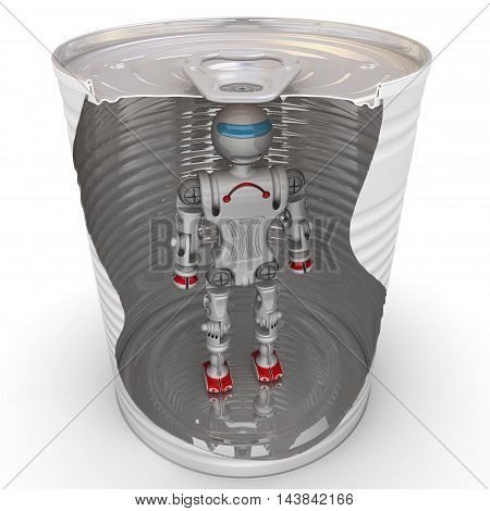 The robot is inside a tin can. Robot conserved for long storage. Isolated. 3D Illustration