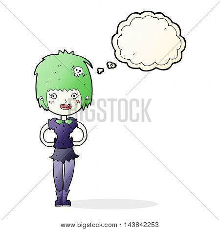 cartoon happy vampire girl with thought bubble
