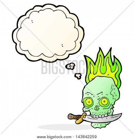 cartoon pirate skull with knife in teeth with thought bubble