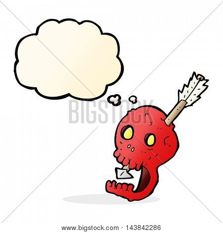 funny cartoon skull and arrow with thought bubble