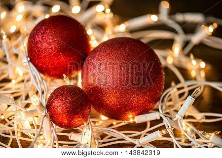 Christmas balls and Christmas lights