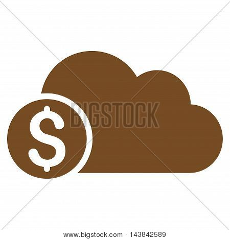 Banking Cloud icon. Vector style is flat iconic symbol with rounded angles, brown color, white background.