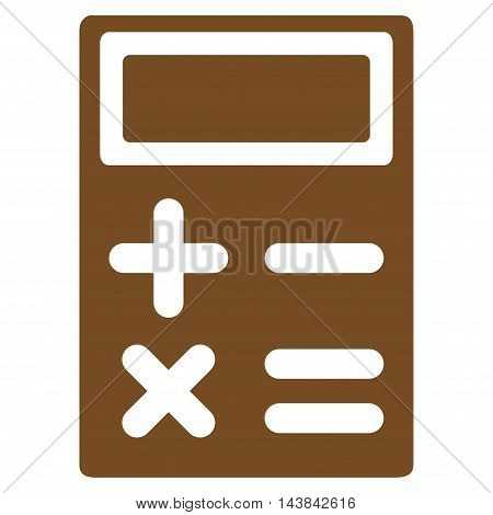 Calculator icon. Vector style is flat iconic symbol with rounded angles, brown color, white background.