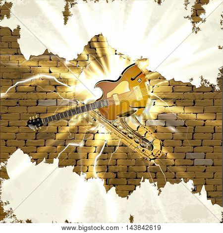 Musical background saxophone and jazz guitar in the old brick wall and a hole with a lightning and flash. There is room to place text or an image on the white plaster.