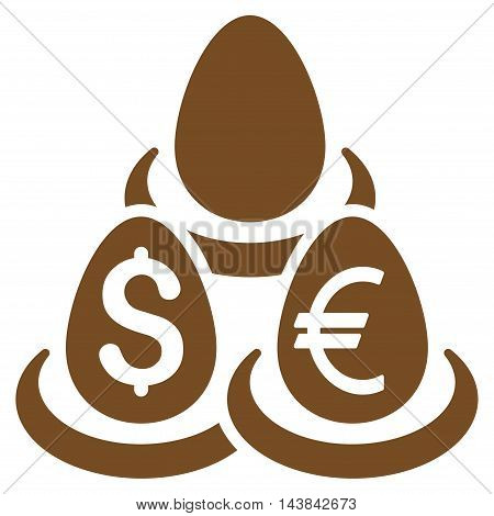 Currency Deposit Diversification icon. Vector style is flat iconic symbol with rounded angles, brown color, white background.