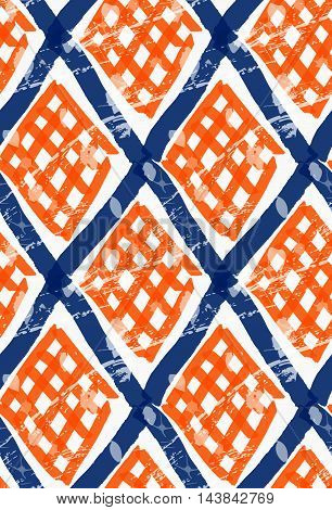 Rough Brush Diamond Grid With Orange Checkered