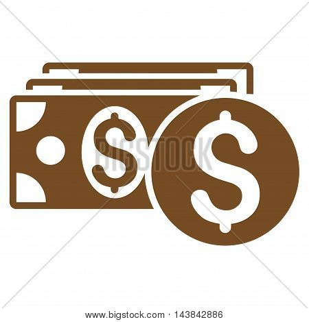 Dollar Cash icon. Vector style is flat iconic symbol with rounded angles, brown color, white background.