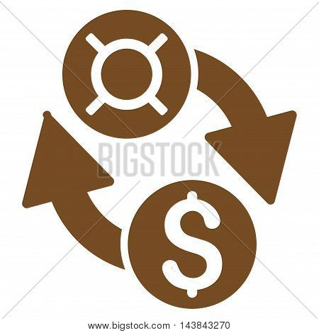 Dollar Currency Exchange icon. Vector style is flat iconic symbol with rounded angles, brown color, white background.