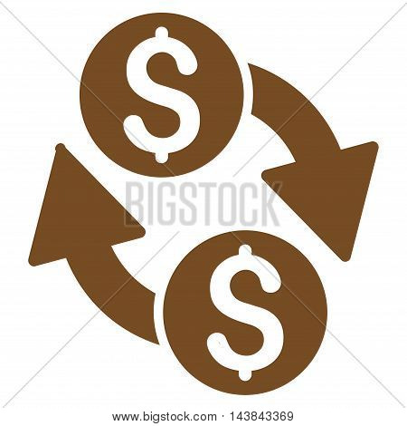 Dollar Exchange icon. Vector style is flat iconic symbol with rounded angles, brown color, white background.
