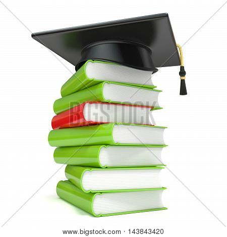 Graduation cap on book stack. 3D render illustration isolated on white background