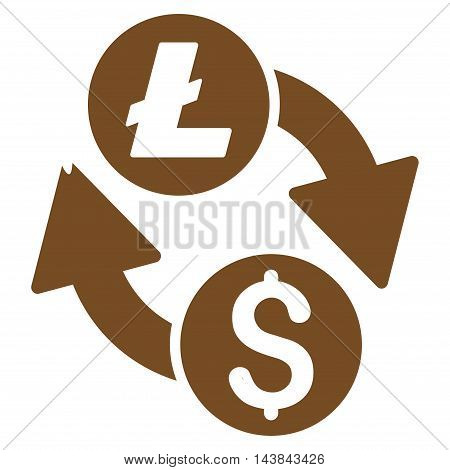 Dollar Litecoin Exchange icon. Vector style is flat iconic symbol with rounded angles, brown color, white background.