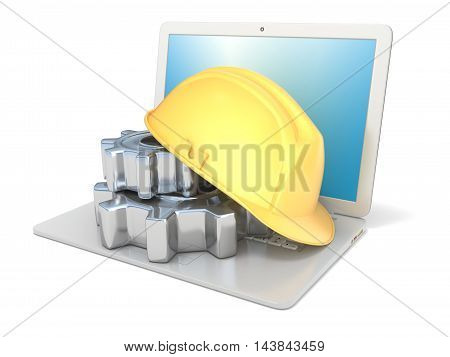 Laptop with safety helmet and gear wheels. 3D render illustration isolated on white background