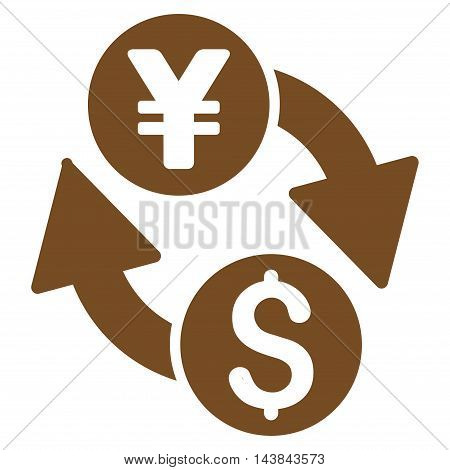 Dollar Yen Exchange icon. Vector style is flat iconic symbol with rounded angles, brown color, white background.