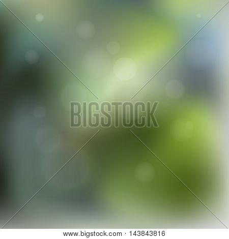 Simple geometric vector illustration blurred abstract green background