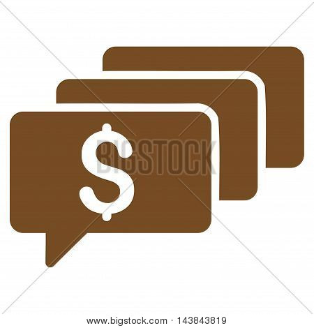 Money Messages icon. Vector style is flat iconic symbol with rounded angles, brown color, white background.