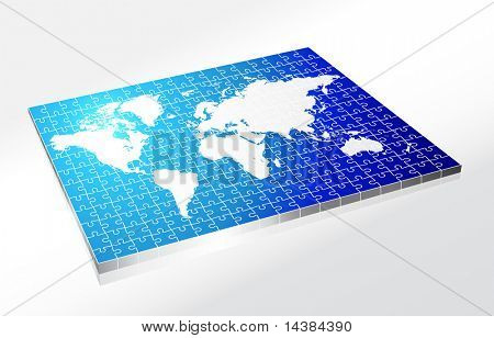 Complete Puzzle of World Map Original Vector Illustration Complete Puzzle Ideal for Business Concept
