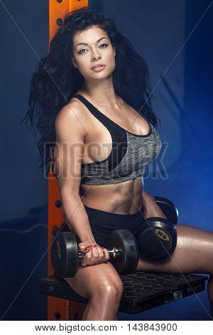 Sporty Brunette Woman In Gym.