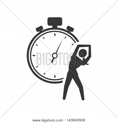 chronometer stretching person healthy lifestyle fitness silhouette icon. Flat and Isolated design. Vector illustration