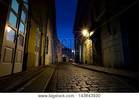Night european city street