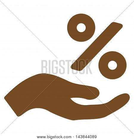 Percent Offer Hand icon. Vector style is flat iconic symbol with rounded angles, brown color, white background.