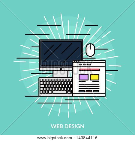 Web design line icon computer and software on light green background vector illustration