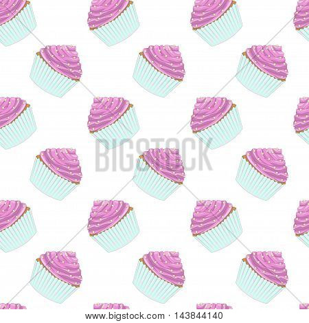 Seamless vector pattern of delicate pastries. Sweet pink cakes in light green basket on white background