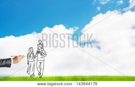 Hand drawn happy family in casual clothes with child
