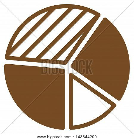 Pie Chart icon. Vector style is flat iconic symbol with rounded angles, brown color, white background.