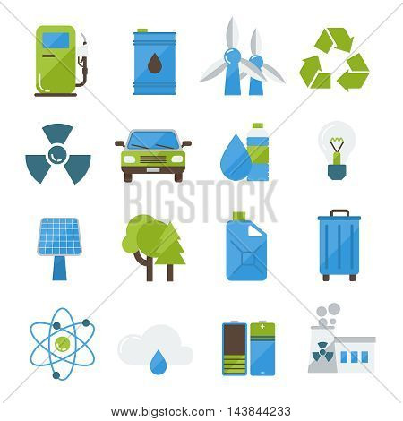 Ecology flat icons set with solar panel wind turbine garbage recycling eco car forests isolated vector illustration