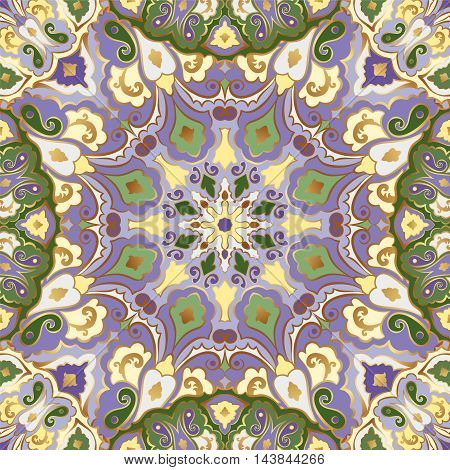 Bright seamless pattern with colored mandalas and gold contour.