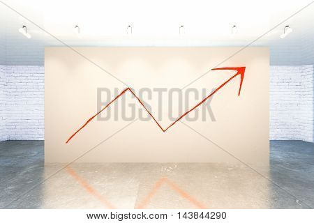 Success concept with upward red arrow sketch in modern interior. 3D Rendering