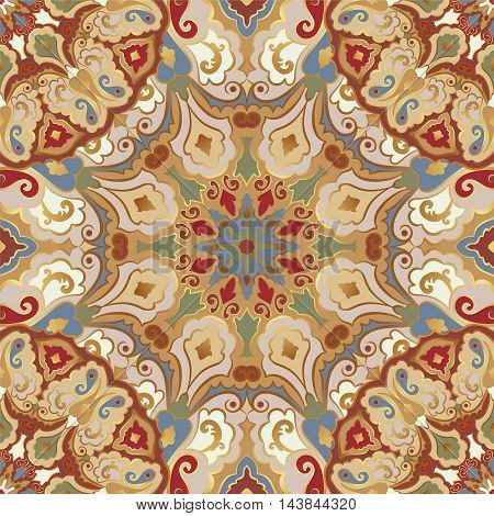 Seamless pattern with colored mandalas. Eastern bright ornament with gold contour.